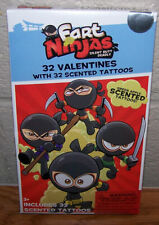 Valentines Day Cards (Box of 32) Fart Ninjas with Scented Tattoos