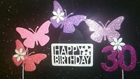 PINK, Lilac, Cerise, Fuchsia Butterfly Glitter Birthday CAKE Decoration, Topper