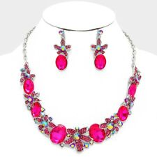 Fuchsia Oval Stones Flowers AB Crystal Center Evening Wear Necklace Set
