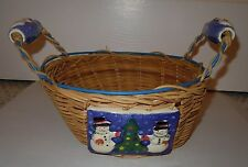 Holiday Snowman & Christmas Tree Basket with Ceramic Tiles