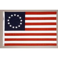 BETSY ROSS Flag COTTON 4x6 ft Sewn 13 Stars & 13 Stripes 1777-1795 Made in USA