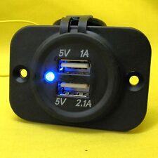 USB Dual 5V Power Charger Socket Outlet Flush Mount 12V 24 Volt 4X4 Caravan Pan