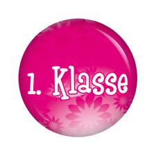 Kiwikatze® Schule: pinkflowers - 1. Klasse Button 37mm Schulanfang Schultüte