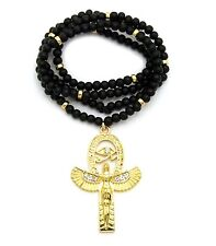 "NEW ANKH CROSS EGYPTIAN PENDANT & 30"" WOOD BEAD CHAIN HIP HOP NECKLACE - RC2444"