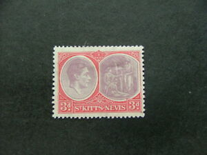 St Kitts - Nevis KGVI 1938 3d dull reddish purple & scarlet SG73 LMM