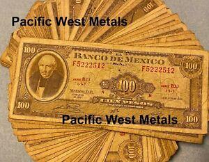 ONE CIRCULATED Mexico Banknote 100 Pesos Hidalgo Paper Money Mexican bills Cien