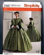 Simplicity 2887 Victorian Civil War Era Dress Gown Pattern Uncut Size 8 10 12 14