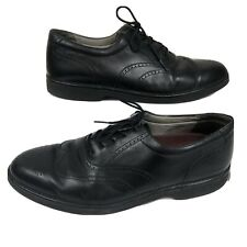 Rockport DresSports Mens Black Leather Brogue Wingtip Vibram Dress Shoes 11.5M