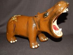 "VINTAGE SERMEL TONALA JAL MEXICO PAPER MACHE HIPPO HIPPOPOTAMUS 10"" X 7"""