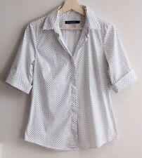 SPORTSCRAFT Size 8 White & Blue Polka Dot Blouse, Top, SHIRT 1/2 Sleeves