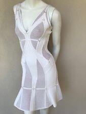 authentic Herve Leger plaited mesh ring detail dress Celina sz M alabaster NEW