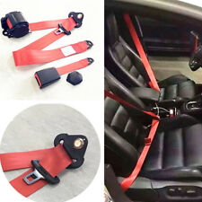 Adjustable Retractable 3 Point Red Nylon Polyester Car Safety Seat Lap Belt kit