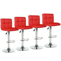 Set of 4 Bar Stools Red Counter Height Leather Adjustable Swivel Pub Chair