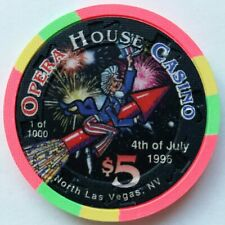 """New listing Opera House Casino Las Vegas $5 Chip *4th of July 1996* """"Uncirculated"""""""