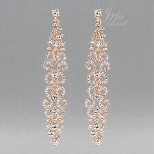Long ROSE GOLD Plated Clear Crystal Rhinestone Wedding Drop Dangle Earrings 4478