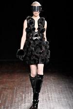 Alexander McQueen Runway Gorgeous 38 Black Fox Fur Leather Dress $28,000 SALE!!