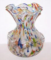 "STUNNING LARGE MURANO CZECH ART GLASS SPATTER APPLIED GLASS 9 3/8"" VASE"