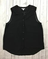 Women's American Eagle Black Sleeveless Semi-Sheer Top-Size Large