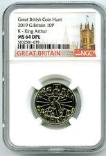 2019 10P GREAT BRITAIN ' K '- KING ARTHUR NGC MS64 DPL BRITISH COIN HUNT