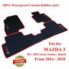 Tailored Rubber Floor Mats for Mazda 3 Hatch / Sedan BN / BM 2014 - 2019 Red