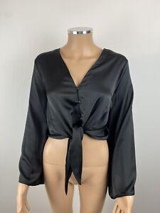 Topshop Black Satin Tie Front Wide Sleeve Crop Blouse Uk 16