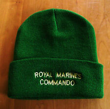 40 COMMANDO ROYAL MARINES BLUE BEANIE WITH GREEN LETTERING