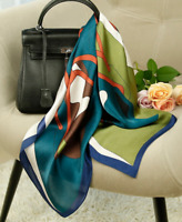 "100% Mulberry Silk 25"" Scarf Women neckerchief Shawl Wrap blue green red QS152-4"