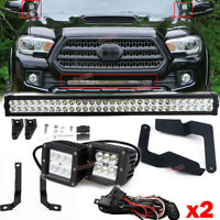 For 16-21 Toyota Tacoma Side Pillar Upper Hood 24W Fog LED Light Pod Bracket Kit