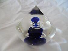 Beautiful Art Deco Art Glass Paperweight with Blue Swirls