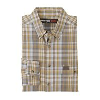 Wrangler Riggs WorkWear Foreman Mens Long Sleeve Plaid Work Shirt 3W620YG, Yello
