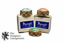 3 Vintage Pill Boxes by Mycraft Fifth Avenue Inlaid Stone Ornate Gold Tone Brass