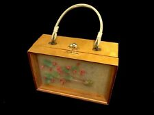 Vintage Wood Purse By Evane By Parker Craft.  Glass Front Dried Flowers