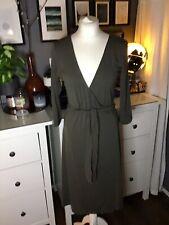 Khaki Green Dress Merino Wool Wrap Dress Designer M 10 12 Stunning Karen Cole