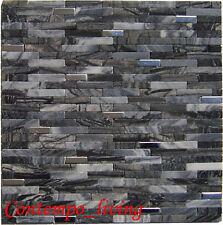 Black Marble Rectangular Mosaic Tile w Stainless Steel