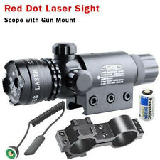 Red Dot Laser Sight Rifle Gun Scope w/ Rail & Barrel Mount Cap Pressure Switch