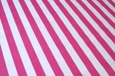 HOT PINK WHITE CABANA STRIPE SUMMER PICNIC DINE OILCLOTH VINYL TABLECLOTH 48x72