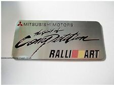 Brushed Aluminium Mitsubishi Motors Ralli Art Spirit Of Competition Car Badge