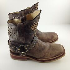 Ferrini Women's Brown Leather Western Cowboy Boots Size 7 Studs Cross Distressed