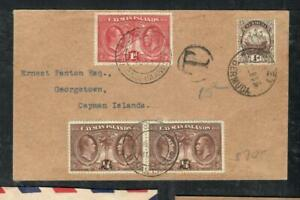CAYMAN ISLANDS COVER (P1304B) 1933 INCOMING PANTON COVER FROM BERMUDA TAXED #2