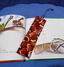 Bookmark Football Handmade Fabric or Cloth Bookmark with Brown Ribbon