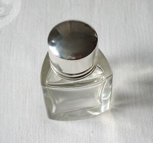 Vintage Little Tricorn Glass Scent/Cosmetic Bottle ~ with HM Silver Lid ~ C.1910