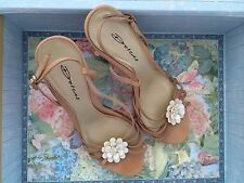 Dolcis Nude Real Leather Floral Sling Back Sandals (Size 5)