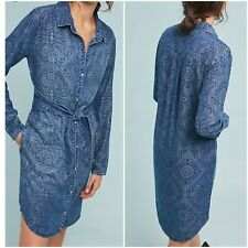 Anthropologie Cloth & Stone Printed Chambray Shirt Dress Woman Size M New