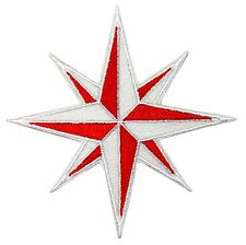 Red and White Eight 8-Point Compass Rose Nautical Star Iron On Applique Patch