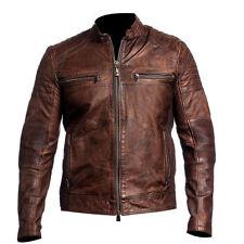 Mens Biker Vintage Distressed Motorcycle Cafe Racer Leather Jacket Brown & Black