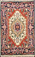 Geometric Hand-Knotted Heriz Oriental Area Rug Traditional WOOL Carpet 2x3 ft
