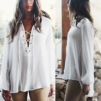 New Casual Womens Blouse Long Sleeve Lace Up Ladies Top T shirt Loose Tee Tops