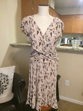 NWOT Anthropologie Leifnotes Beige & Black Hot Air Balloon Dress Size L Sleeves