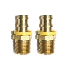 """2x 3/8"""" MNPT to 3/8"""" Push Lock Brass Hose Barbs Pressure Washer Unloader Bypass"""