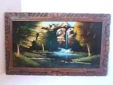 """Vintage Framed Waterfall Velvet Painting 23"""" x 14"""" Trees Mountain"""